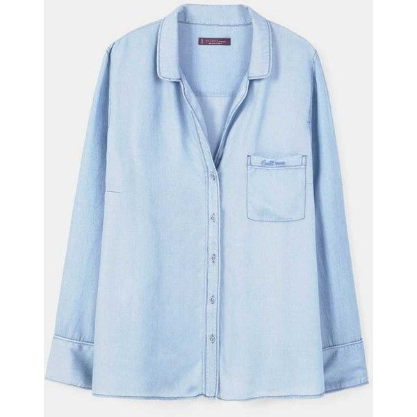 Violeta BY MANGO Denim tencel® shirt (135 CAD) ❤ liked on Polyvore featuring tops, light blue, plus size, plus size shirts, denim shirt, light blue shirt, plus size long sleeve tops and plus size long sleeve shirts