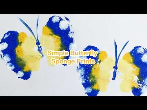 butterfly printing with sponges | The Craft Train