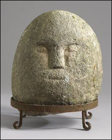 Celtic Iron Age stone head found near Claudy, UK dates ca.  200 BC - 200AD. The head was important to the ancient Celts because they considered it the seat of emotions. [paraphrase BBC NEWS]