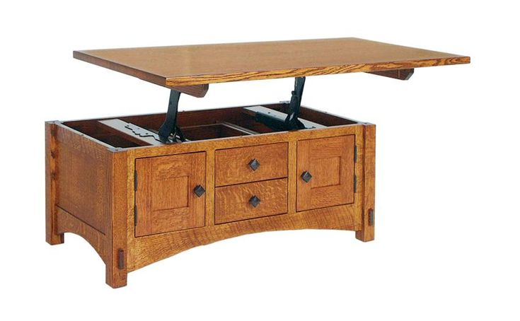Amish Lucern Mission Cabinet Lift Top Coffee Table Acting as two tables in one with ample storage makes the Lucern a great candidate for an apartment.