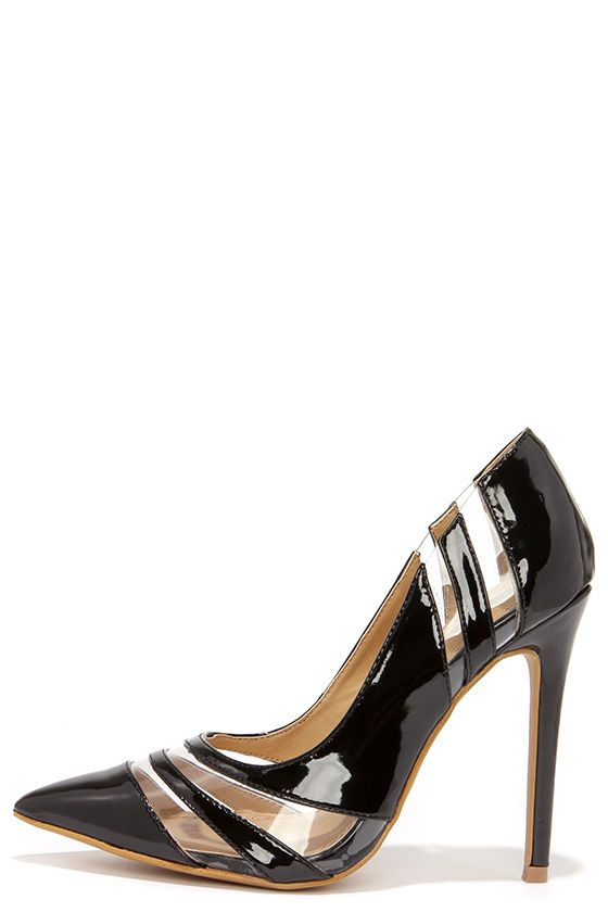 See and Be Seen Black and Lucite Pumps