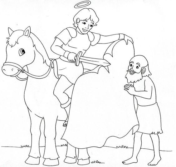 Saint Martin of Tours Catholic Coloring page. Feast day (Martinmas) is November 11th.: