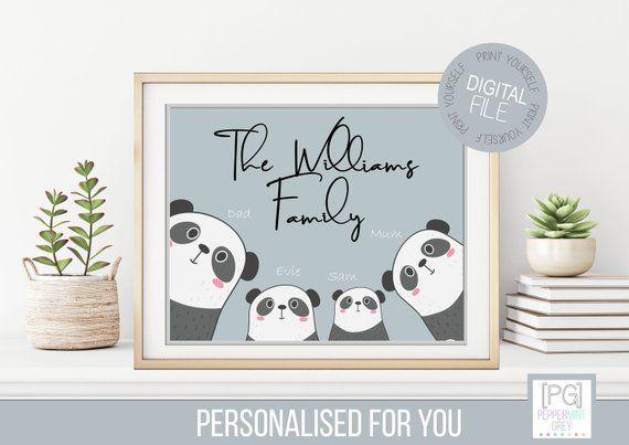 Personalised Bear Family Wall Art Personalised Gift Family Etsy Personalized Family Wall Art Family Wall Art Personalized Family Gifts