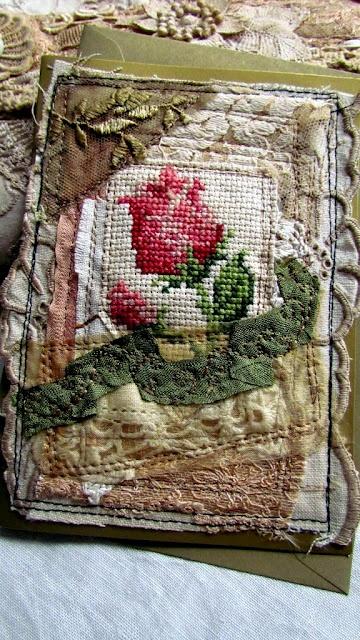 Suziqu's Threadworks  cross stitch rose  - Great fabric journal cover idea.
