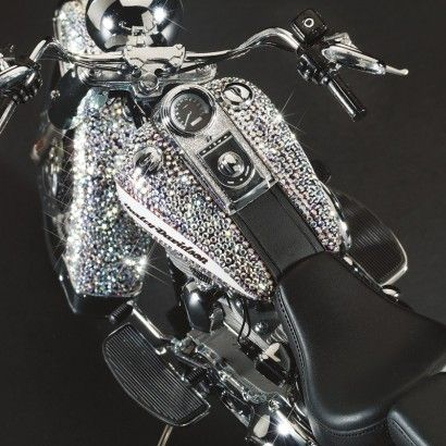 H-D Softail in Swarovski crystals. Now that is what I call BLING!