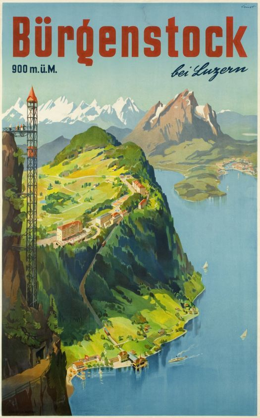 Bürgenstock bei Luzern by Ernst Otto / 1950. It is a very famous viewpoint and the summit is accessible by the spectacular path along the vertical rock face and by an outdoor open lift, the Hammetschwand Elevator.The new lift was opened in 1905. It whisks passengers 153 meters up to the summit of the Hammetschwand in less than one minute. It was regarded as a pioneering feat in those days and is still the number one as Europe's longest exterior lift.