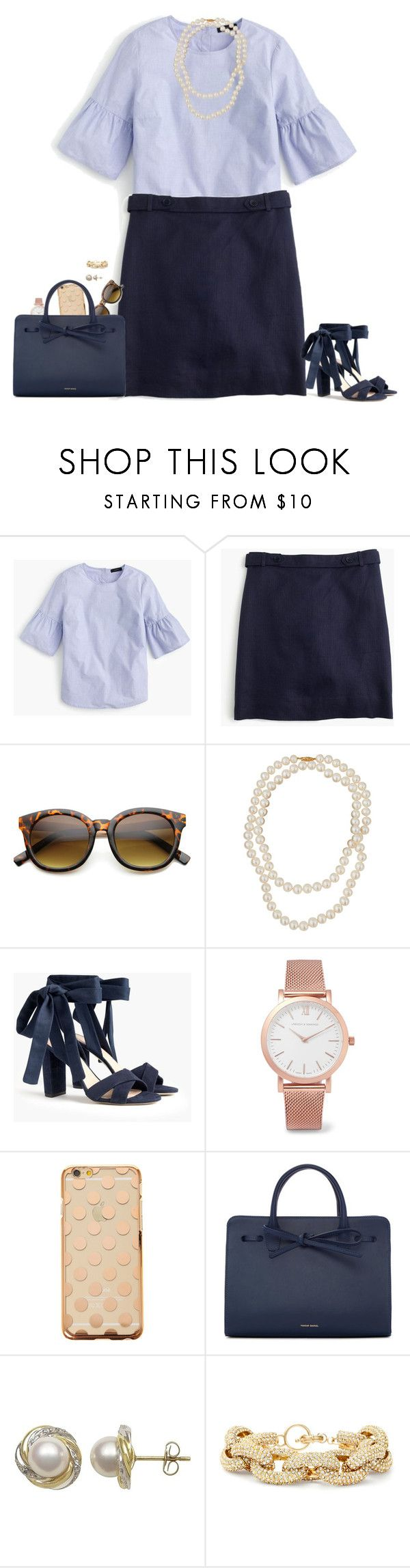 """""""Very Sarah Vickers"""" by sc-prep-girl ❤ liked on Polyvore featuring J.Crew, ZeroUV, Belpearl, Larsson & Jennings, Mansur Gavriel and Slate & Willow"""