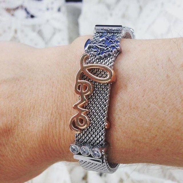 Stainless Steel Mesh Keeper Bracelet with Love Heart Slide Charms Keys Fashion Women Jewelry