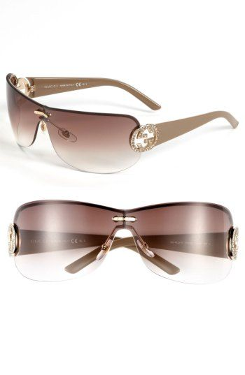 Free shipping and returns on Gucci 74mm Swarovski Crystal Rimless Shield  Sunglasses at Nordstrom.com. Iconic emblems sparkle with crystalline light  on the ... 07a85c8df6