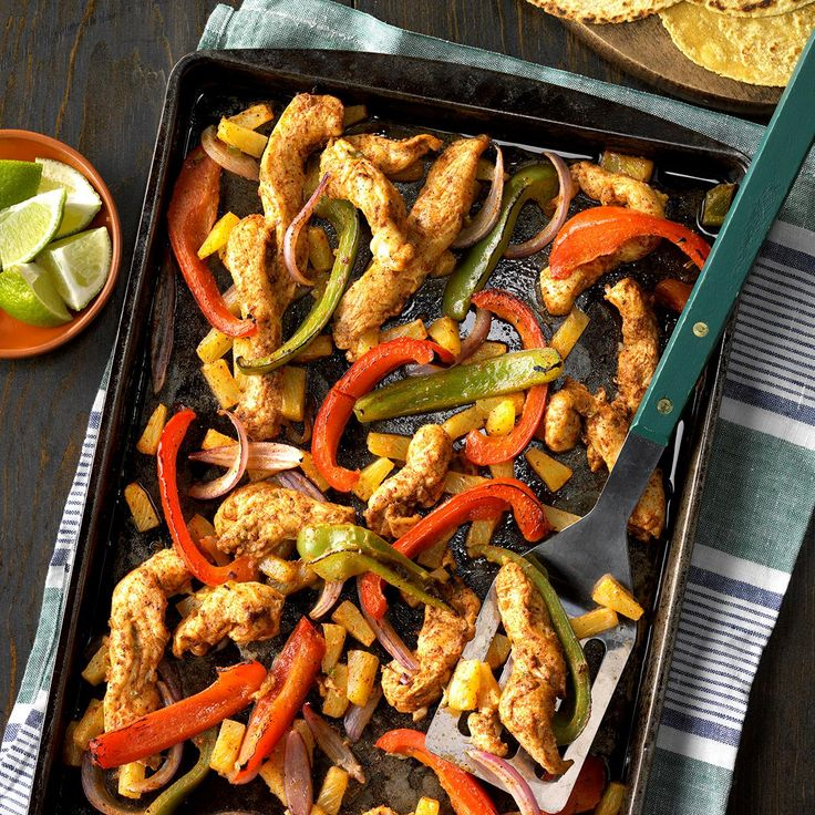 Sheet Pan Pineapple Chicken Fajitas Recipe -I combined chicken and pineapple for a different flavor on our fajitas. It's more on the sweet side but my family loved them! —Nancy Heishman, Las Vegas, Nevada