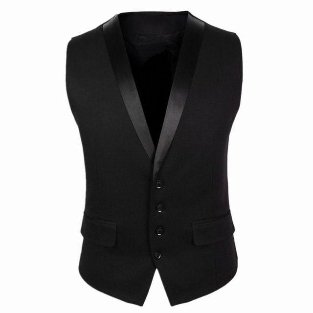 2016 New Arrivals vestido coletes para homens preto cinza Slim Fit Mens mangas Gilet V colarinho masculino formais colete casamento CH752