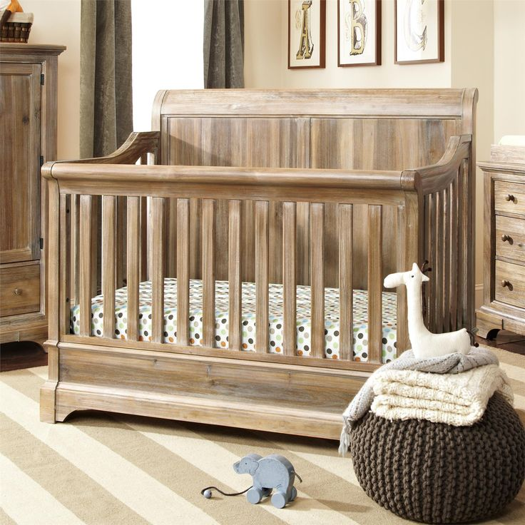 The Pembrooke 4 in 1 Convertible Crib is designed to meet all of your growing baby's needs. Transforming from a crib, to a toddler bed, to a full size bed with a headboard or with a headboard and a footboard! The natural rustic finish, solid wood construction, and detailed wood-cuts make it the perfect centerpiece for your nursery. The crib adjusts for 3 mattress height positions and accommodates a standard crib size mattress (sold separately).