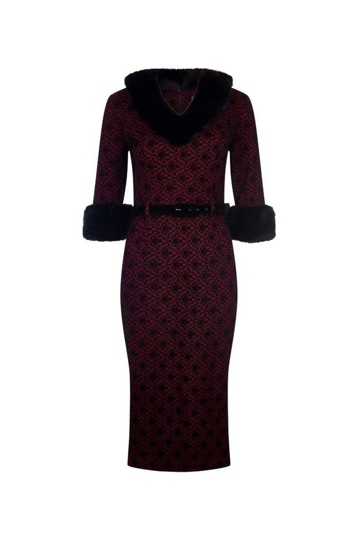 Collectif Vintage Wine Red and Black Faux Fur Collar Pencil Dress