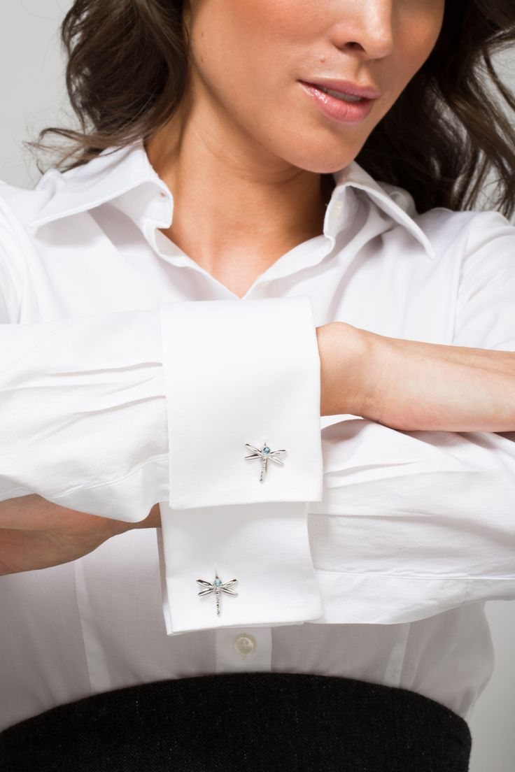 White Shirt With Miss Links 39 Tina 39 Dragonfly Cufflinks