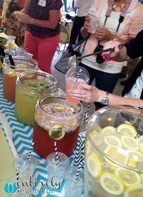 Lemonade bar: Watermelon, mint, and lavender lemonade!  So perfect! entirelyeventfulday.com
