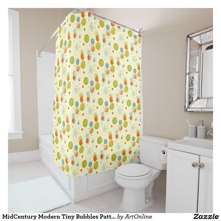 Good Mid Century Shower Curtain Part - 8: MidCentury Modern Tiny Bubbles Pattern Shower Curtain