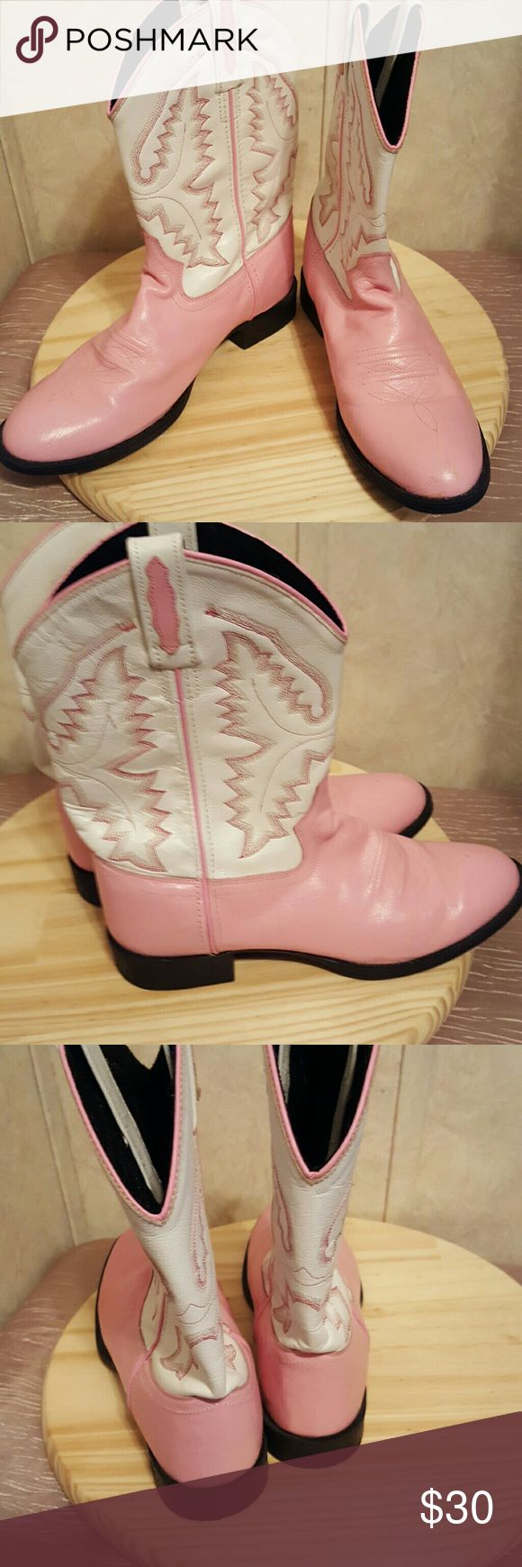 Genuine leather pink Old West boots Barely worn.  Super cute! old West  Shoes Heeled Boots