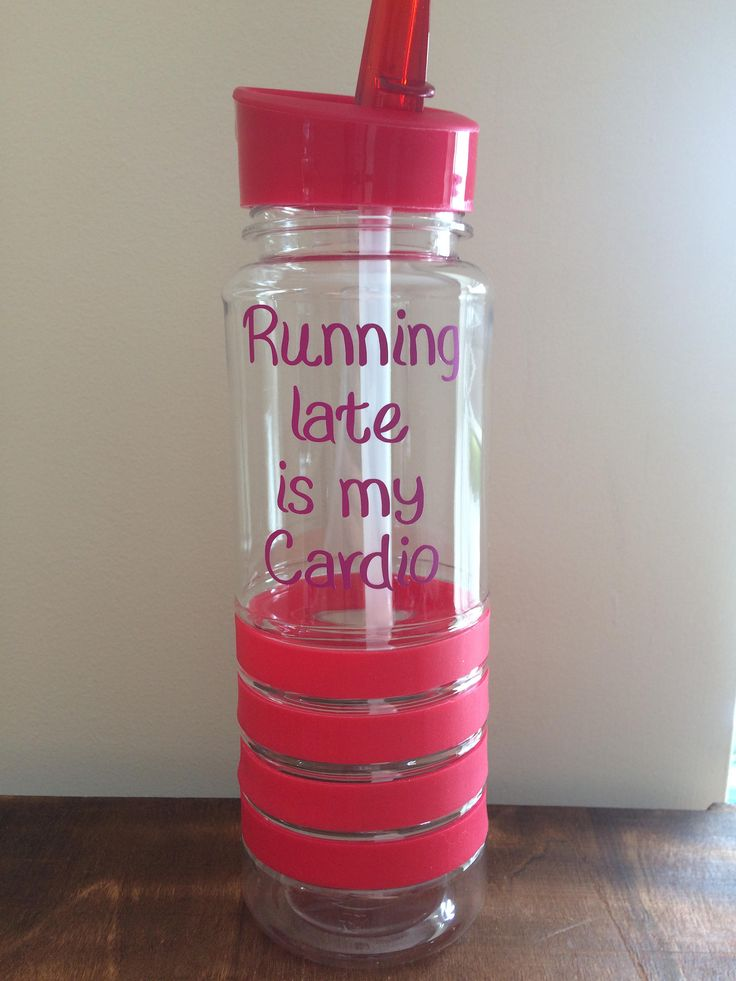 Gym bottle running late it's my cardio sportsbottle motivation gym gift Christmas flip lid red quote sports by LoveartsGifts on Etsy