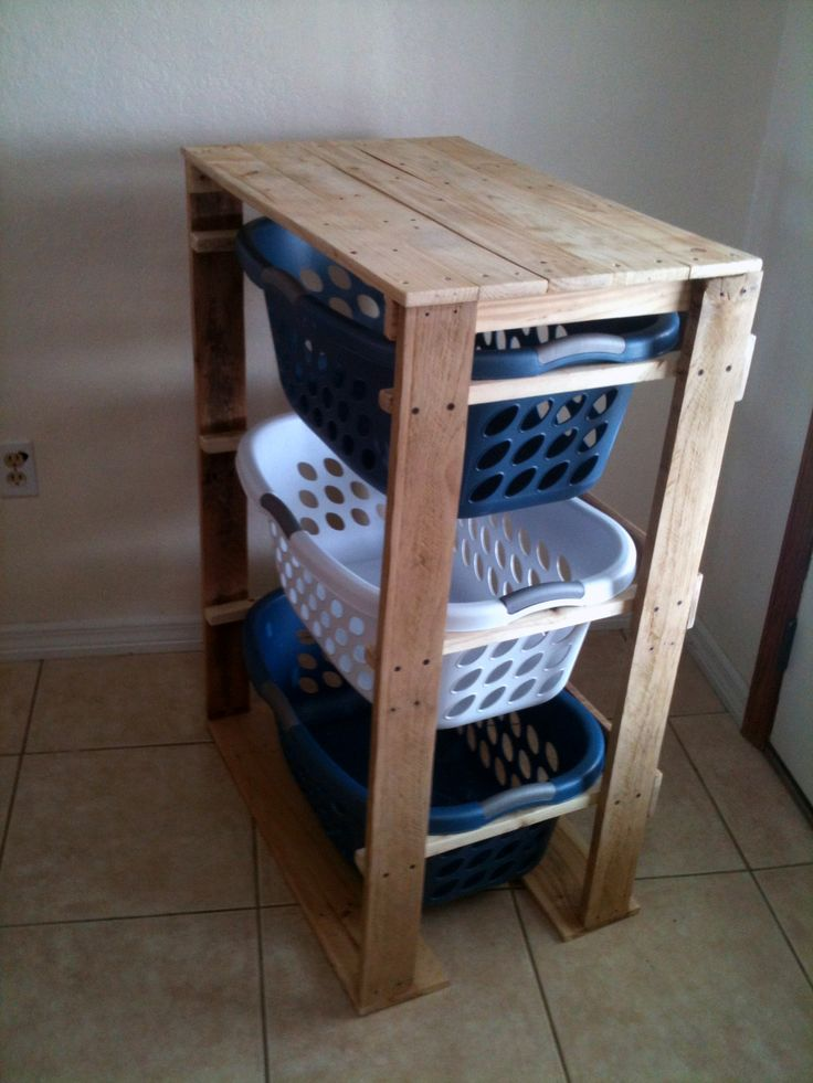 Awesome for laundry!! Colored basket for colors, white for whites, and black for the dark stuff! And a handy little folding station on top!!