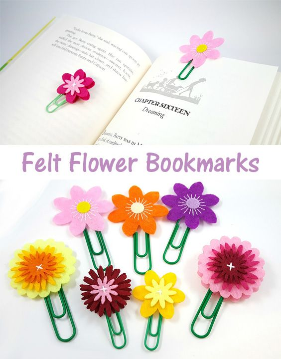 Kids can make fun crafts for Mother's Day - like these felt flower bookmarks!