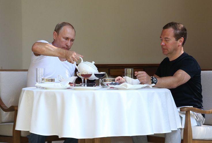 プーチン大統領、相棒メドベージェフ首相とのマッチョで優雅な休日(画像)