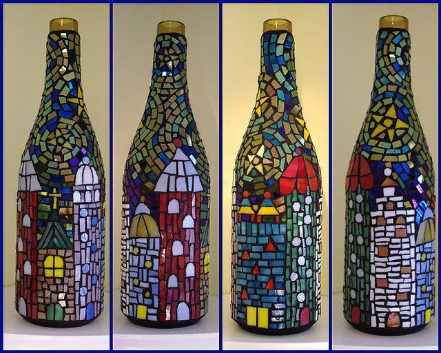 Mosaic wine bottle, via Flickr.
