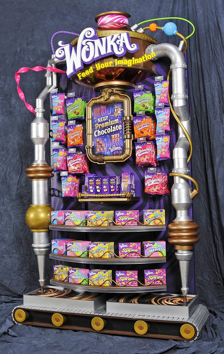 Bright and lively POS display for Wonka. Bringing the Wonka factory to life! Point of sale, Point of purchase.