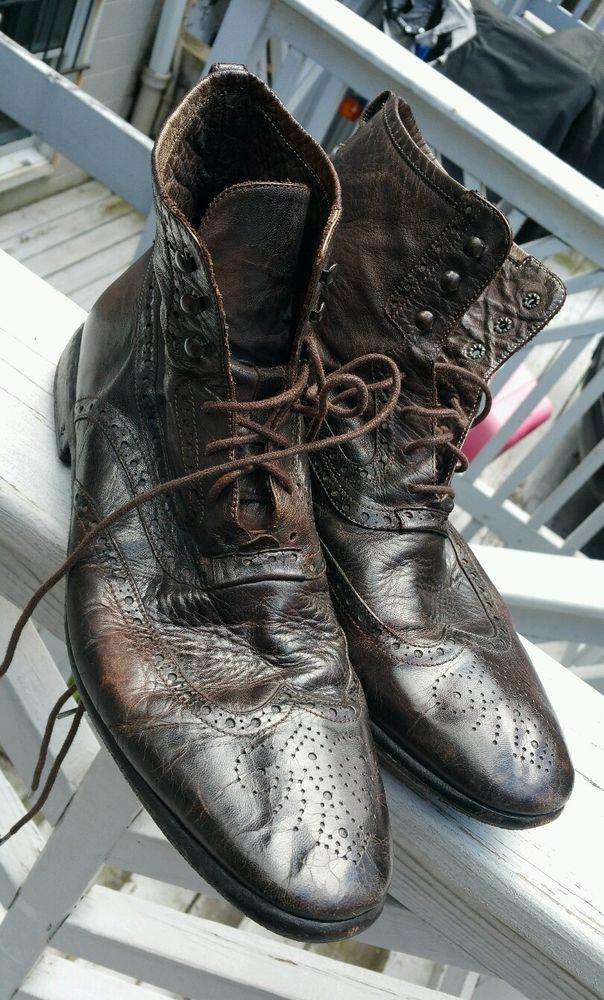 $698 - John Varvatos Collection Garment Dyed Calfskin Murray Spectator Boot 10.5 #JohnVarvatosCollection #AnkleBoots