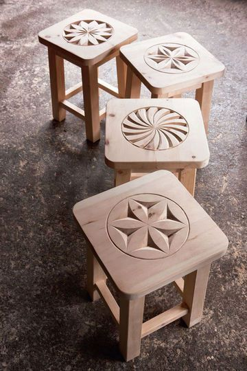 Chip carved stools