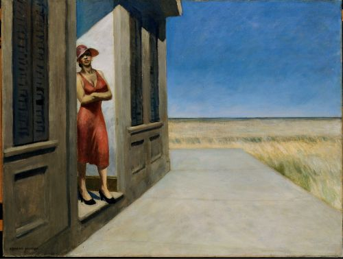'South Carolina Morning', 1955. Edward Hopper. Oil on canvas. From April 1 to May 11, 1929, Edward Hopper and his wife, Josephine Nivison Hopper, visited Charleston, South Carolina. During their trip to the surrounding countryside, the Hoppers encountered a woman who stood in front of her cabin but retreated indoors when her husband came home. Many years later, Hopper revisited this chance meeting in South Carolina Morning, the only painting in his oeuvre that depicts an Afri...