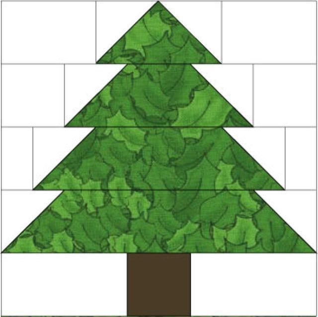 "10"" Christmas Tree Quilt Block Pattern: About the Christmas Tree Quilt Block Pattern - make with jelly roll"