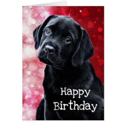 Black Labrador Valentine Puppy Card