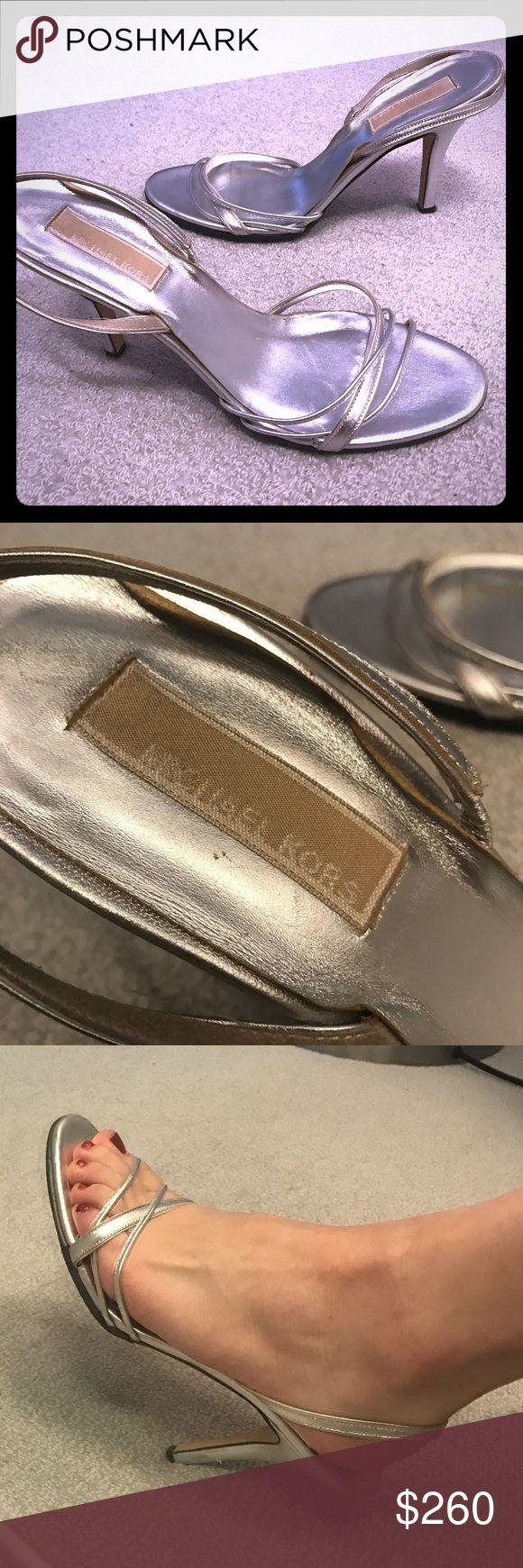 Michael Kors heels Silver strappy Michael Kors heels worn once! Michael Kors Shoes Heels
