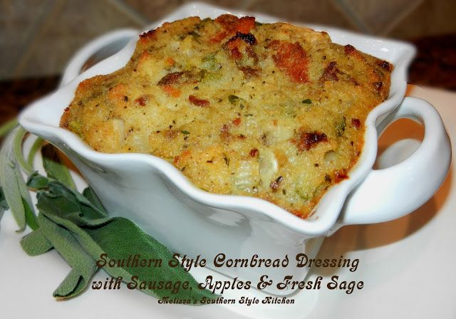 Southern Style Cornbread Dressing with Sausage, Apples