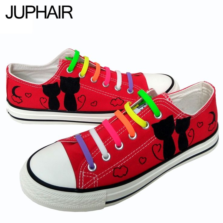 33.60$  Watch now  - JUP Men Mans Girls Boys Foot Breathable Black Cats Hand-painted Fashion Casual Shoes Cow Muscle Lazy Shoelace Gift Red Footwear