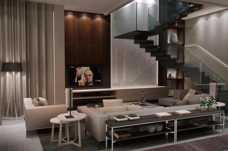 salon marron beige, escalier design, meubles gris clair et rideau assorti