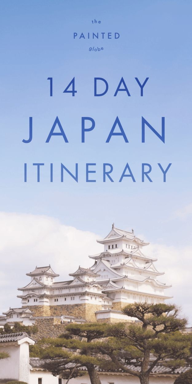 14 day Japan Itinerary (2 week Japan Itinerary) - The Painted Globe     Heading to Japan? Not sure where to start planning your trip? Check out my 14 day itinerary post for pre-planning tips and tons of ideas for places to go and things to do! Destinations include: Tokyo, Hakone, Mt Fuji, Ainokura, Shirakawago, Hakone, Hiroshima, Miyajima, Kyoto, Nara, Mt Koya & Osaka. Plus tips on how to adapt this 2 week Japan itinerary into a 7 day japan itinerary / 10 day japan itinerary etc.