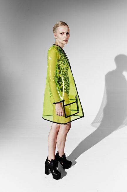 JOANNA PYBUS A/W13 Transparent Neon Yellow Pvc Coat by joannaPYBUS, £200.00