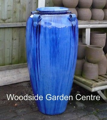 Elegant Large Tall Blue Glazed Temple Jar Decor Vase | Woodside Garden Centre | Pots  To Inspire