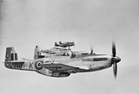 Royal Australian Air Force's Mustang in flight over the Northern Italy during the last day of the WW2, May 1945. The aircraft are planes, in foreground the Mustang IV (P-51D/K) KH853, of the No. 3 Squadron RAAF, during the return their base of Cervia, Emilia-Romagna, near the Adriatic Coast. From Cervia, where was based from 26 February 1945, the No 3 Squadron RAAF, equipped with Mustangs from November 1944, flew its last war's mission, a reconnaissance of Fiume, Trieste and Udine areas, on…