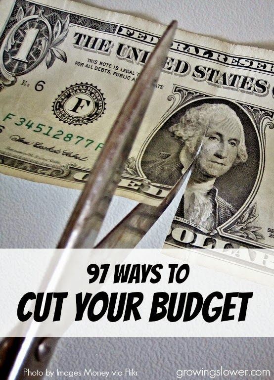 Find out how you can cut your budget right now with this huge list of 97 easy ways to save money! www.growingslower.com #savemoney #moneysavingtips