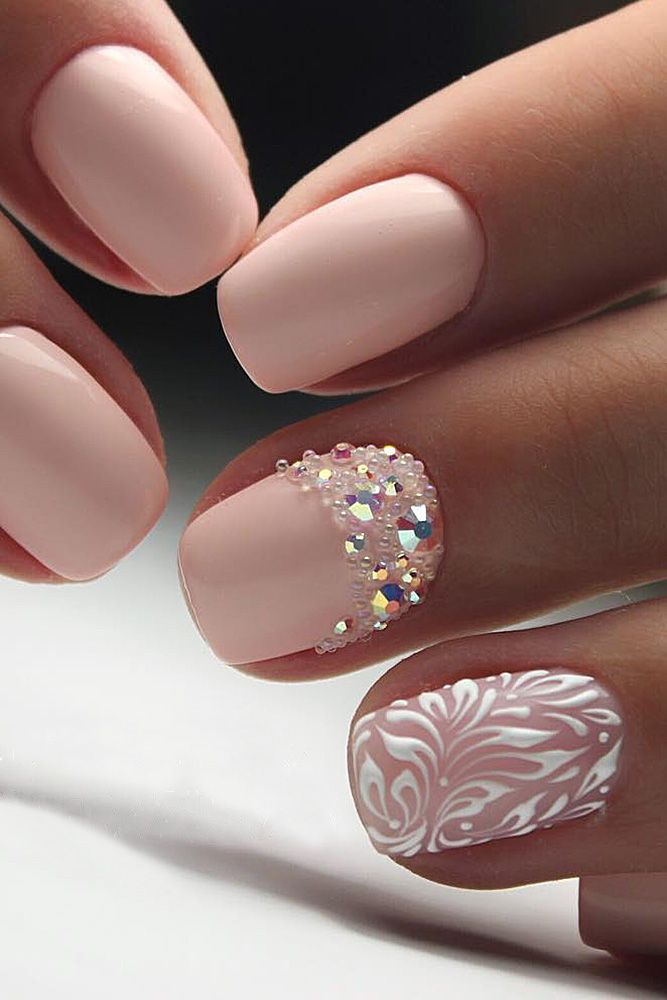 30 Perfect Pink And White Nails For Brides Wedding Forward Bride Nails Elegant Nail Designs Bridal Nail Art