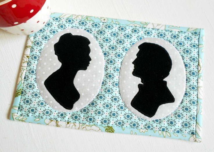 This Jane Austen inspired Love Story Cameo mug rug was machine stitched.