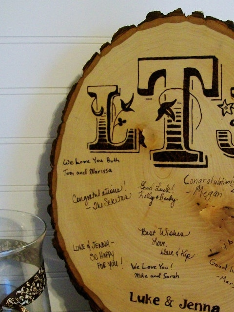 Rustic Wood Guest Book / Wood Guest Book / Rustic Wedding Decoration / Wood Slice Guest Book. $32.00, via Etsy. - Love this idea!
