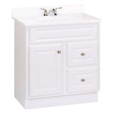 Hampton 30 in. W x 21 in. D x 33.5 in. H Vanity Cabinet Only in White