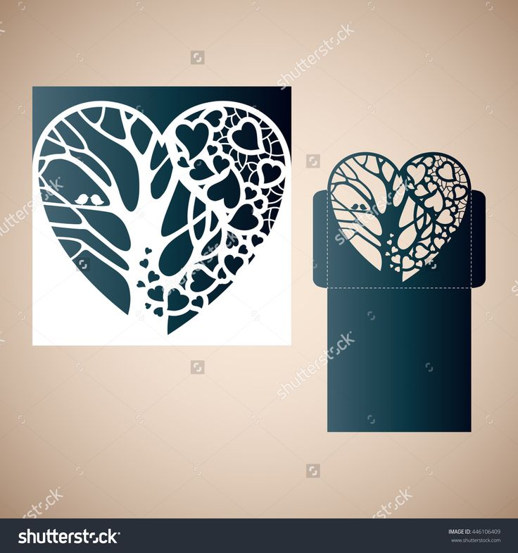 Openwork Heart With A Tree Inside. Laser Cutting Template For Wedding Envelopes And Invitations. Stock Vector Illustration 446106409 : Shutterstock