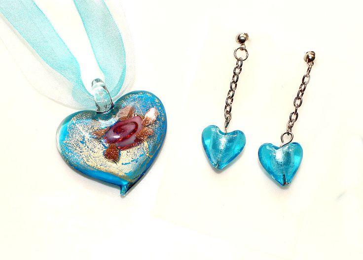 Valentinstag Halskette Glas Rosen Herz Anhänger + Ohrringe türkis Organza Halsband Choker Schmuck Set Geschenk Geburtstag für Sie Frauen von CreativeWithHeart auf Etsy