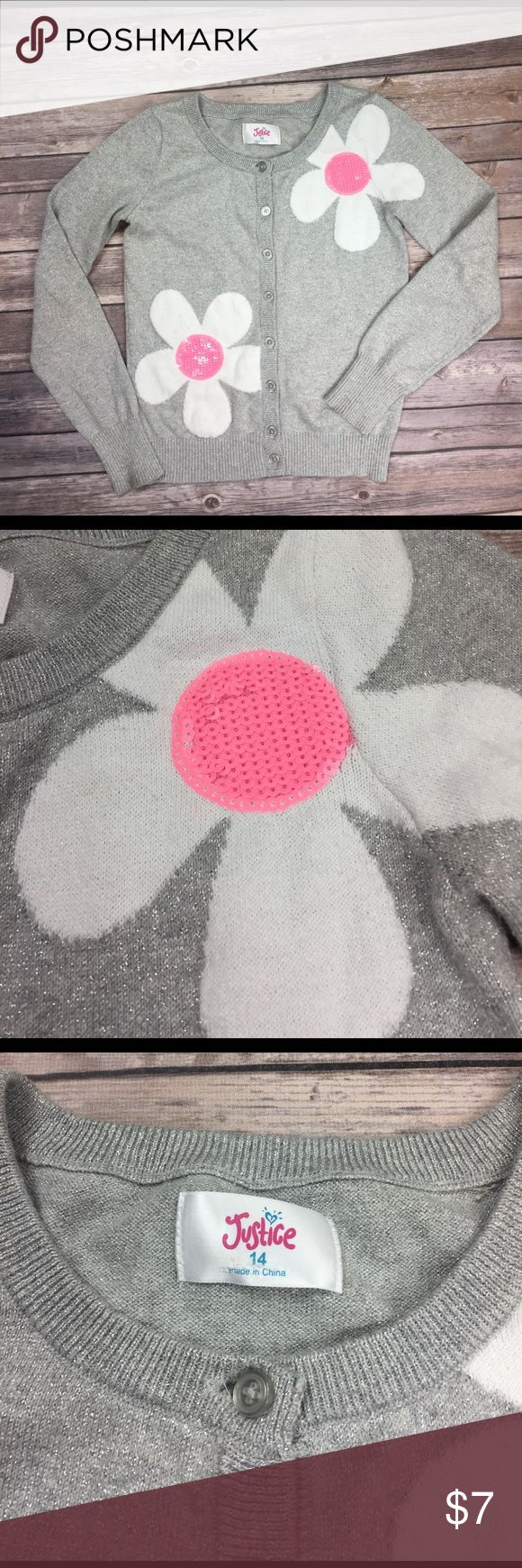 💜Size 14 Justice sweater cardigan GUC, sparkly silver cardigan with pink and white daisies.  🛍 buy 2+ items and get 25% off your purchase automatically!! 🛍 Justice Shirts & Tops Sweaters