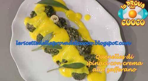 """Quenelles di spinaci con crema allo zafferano ricetta Sergio Barzetti da """"La Prova del Cuoco"""""""