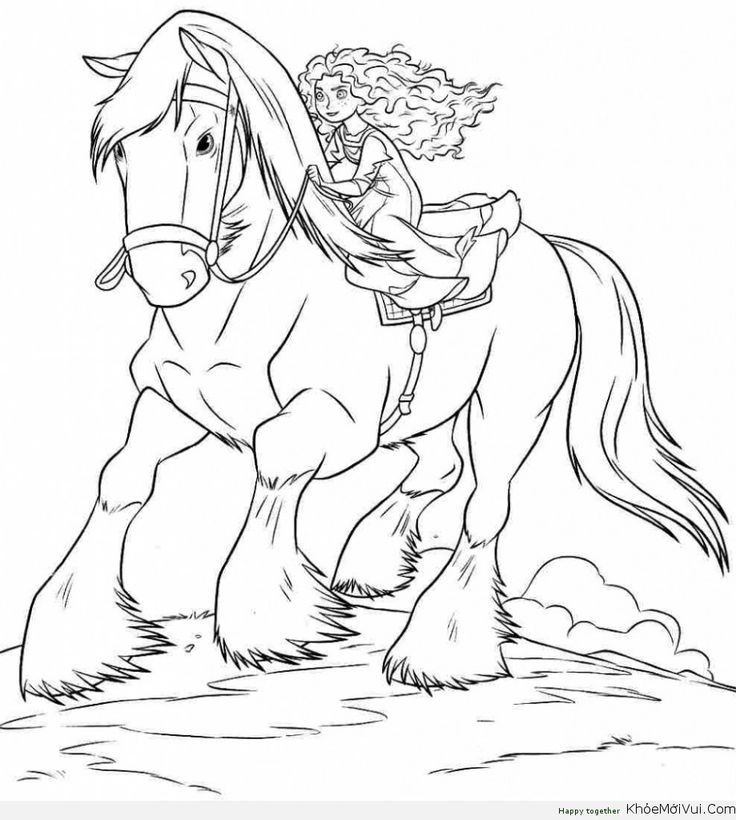 Tranh to mau cong chua disney 47 coloring 5 pinterest for Princess and horse coloring pages